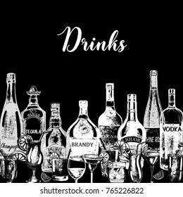 Hand drawn sketch style alcoholic drinks and bottles. Vector illustration.
