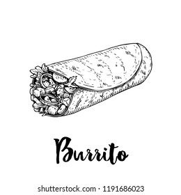 Hand drawn sketch style burrito wrap. Traditional mexican cuisine illustration. Fast food. Street food drawing. Best for restaurant menu and package design.