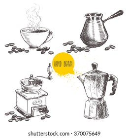 Hand drawn sketch style coffee equipment set isolated on white background. Coffee mill, turkish cezve, vintage italian geyser pot and cup.