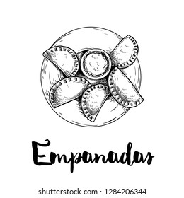 Hand drawn sketch style empanadas. Top view on plate with sauce. Typical Latino America and spanish fast food. Vector illustration isolated on white background. Best for menu designs, packages.