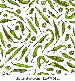 Hand drawn sketch style green Chili peppers seamless pattern. Ripe and sliced peppers. Color illustration.