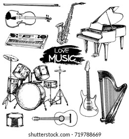 Hand drawn sketch style musical instruments. Vector illustration isolated on white background.