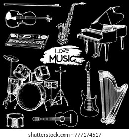 Hand drawn sketch style musical instruments. Vector illustration isolated on black background.