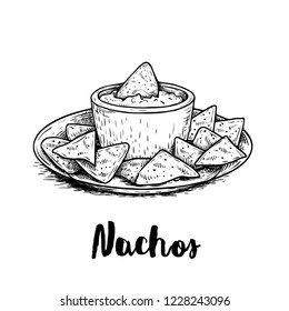 Hand drawn sketch style nachos with guacomole sauce on plate. Traditional mexican food. Corn chips. Retro style. Element for mexican restaurant menu designs. Vector illustration isolated on white.