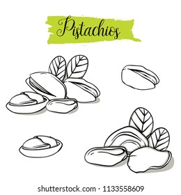 Hand drawn sketch style pistachios set. Single, group seeds, pistachio in nutshells group. Organic nut, vector doodle illustrations collection isolated on white background.
