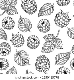 Hand drawn sketch style raspberry and leaf seamless pattern. Engraving style, isolated on white. Ink for menu, banners. Organic, natural