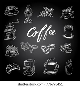 Hand drawn sketch style. Sack with coffee beans with wooden scoop, cup, branch with leaf and berry .Coffee cup is hot . vintage paper cup of coffee takeaway Menu for restaurant, cafe, bar.