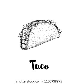 Hand drawn sketch style taco. Traditional mexican fast food illustration. Vector drawing isolated on white. Great for restaurant menu, package design and posters.
