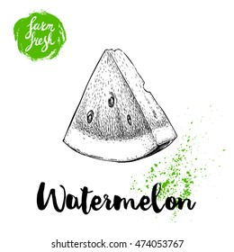 Hand drawn sketch style watermelon triangle cut vector illustration. Farm fresh fruit isolated on white background. Eco organic food poster.