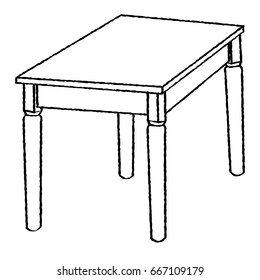 Hand drawn sketch of Table isolated, Black and White Cartoon Vector Illustration for Coloring Book - Line Drawn Vector