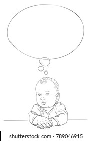 Hand drawn sketch of ten month old baby boy thinking with serious face and thought bubble, Vector illustration isolated on white background