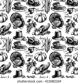 Hand drawn sketch Thanksgiving Day seamless pattern. Black and white vector illustration