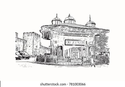 Hand drawn sketch of Topkapi Palace Istanbul, Turkey in vector illustration.