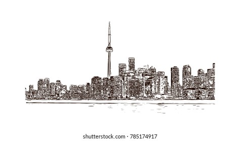 Hand drawn sketch of Toronto city skyline, Canada in vector.