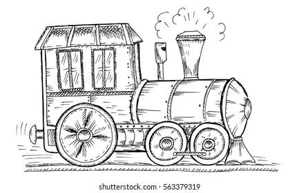 Hand Drawn Sketch train Vector Illustration.