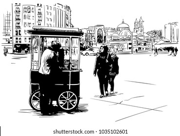 Hand drawn sketch of turkish bagel simit sale on street at Taksim Square, Istanbul, Vector illustration isolated
