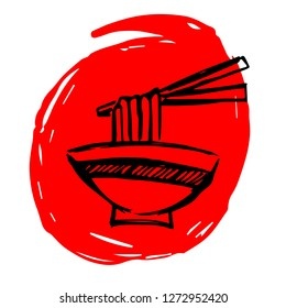 Hand Drawn / Sketch Vector Illustration of Red Background Banner with Noodles or Ramen