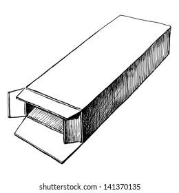 hand drawn, sketch, vector illustration of open box