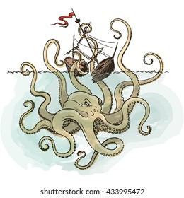 Hand drawn sketch of vessel and Kraken monster octopus. Greek mythology. Vector illustration.