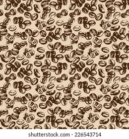 Hand drawn sketch vintage coffee beans seamless pattern. Vector illustration. Background for cafe and restaurant menu design