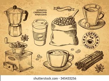 Hand drawn sketch vintage coffee set. Vector illustration. Menu design for cafe and restaurant