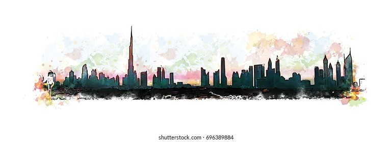Hand drawn sketch with watercolor splash of Dubai skyline in vector illustration.