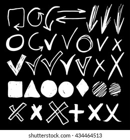 Hand drawn sketch white chalk signs, arrows, lines, shapes, handwritten, design elements set isolated on blackboard