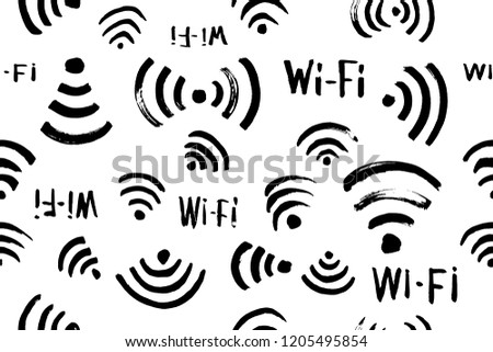 Hand Drawn Sketch Wi Fi Icon Vector Stock Vector Royalty Free