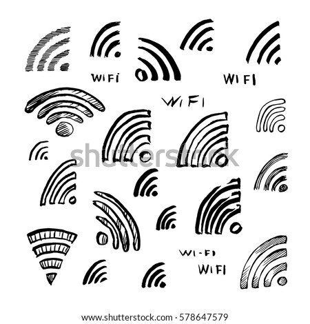 hand drawn sketch wi fi icon vector stock vector royalty free Wi-Fi Available hand drawn sketch wi fi icon vector illustration set of symbol doodles elements