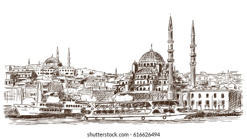 Hand drawn sketch of the world famous Blue mosque, Istanbul in vector illustration.