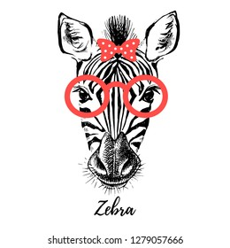 Hand drawn sketch zebra hipster head illustration. Isolated cute trendy portrait on white background