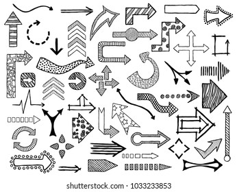 Hand drawn sketched Arrows in different shapes set. Doodle arrows collection. Vector illustration.