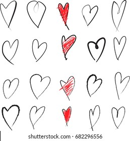 hand drawn, sketched, hearts black line art, red filled