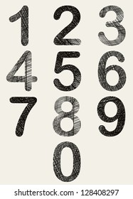 Hand drawn and sketched numbers set, vector sketch style.