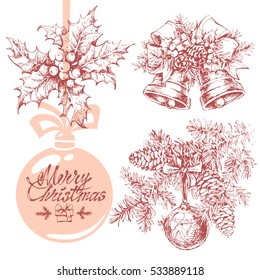 Hand drawn sketches of christmas tree, holly plant and bells isolated on white background. Vector illustration set for christmas designs. Vintage line art. Merry christmas text.