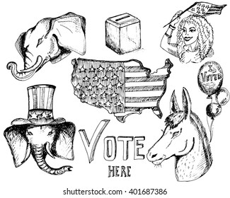 Hand drawn sketches.Elephant and donkey. Symbols of Democrats and Republicans political parties in United States. Illustration for election, debate America. USA flag, the ballot box, balloons, girl.