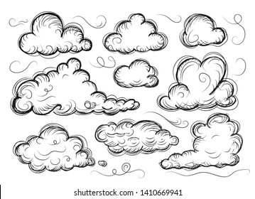 Hand drawn sketchy cloud collection isolated on white. Sketched black pencil clouds outline vector illustration