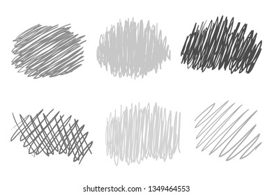 Hand drawn sketchy elements on white. Abstract backgrounds with array of lines. Stroke chaotic patterns. Black and white illustration