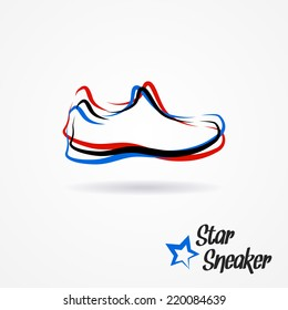 Hand drawn sketchy logo with stylized shoe and star