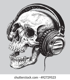 Hand drawn sketchy skull with headphones