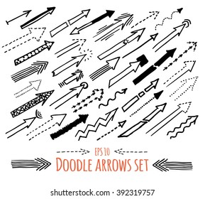 Hand drawn sketchy style arrows set. Collection of different forms of arrows for any purpose. Isolated in groups. Vector illustration.