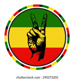 Hand Drawn Sketchy Hand with Two Fingers Up on Rasta Colors Background. Victory and Peace Gesture Symbol. Vector Round Emblem.