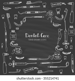 Hand drawn sketchy vector dental care icons Health symbols Medical, doctor and dentist office symbols Oral care Dentist office Tooth health Dentist instruments doodle icons Sketch Brilliant smile