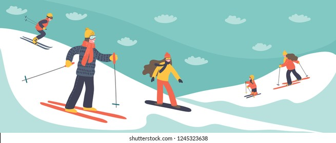 Hand drawn skiers skiing in the mountains. Winter vacations vector illustration.