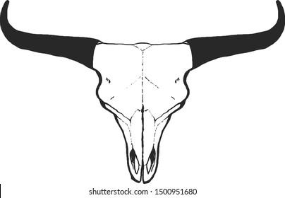 Hand drawn skull animal. Vintage vector illustration in sketch style. Boho chic element for T-shirt, poster or card design.