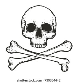 hand drawn skull and crossbones vector illustration isolated on white background