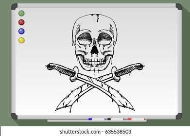 Hand drawn skull with crossed swords. Whiteboard vector illustration.