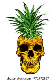 Hand Drawn skull fruit pineapple illustration vector.