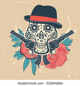 Hand drawn skull with guns and flowers in vintage style. Vector illustration