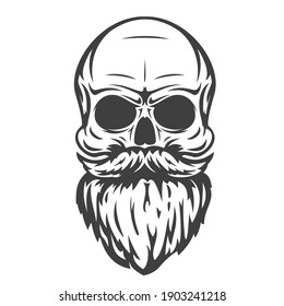 Hand drawn skull with mustache and beard in cartoon vintage style isolated on white background. Design element for print, poster, cover. Vector illustration.